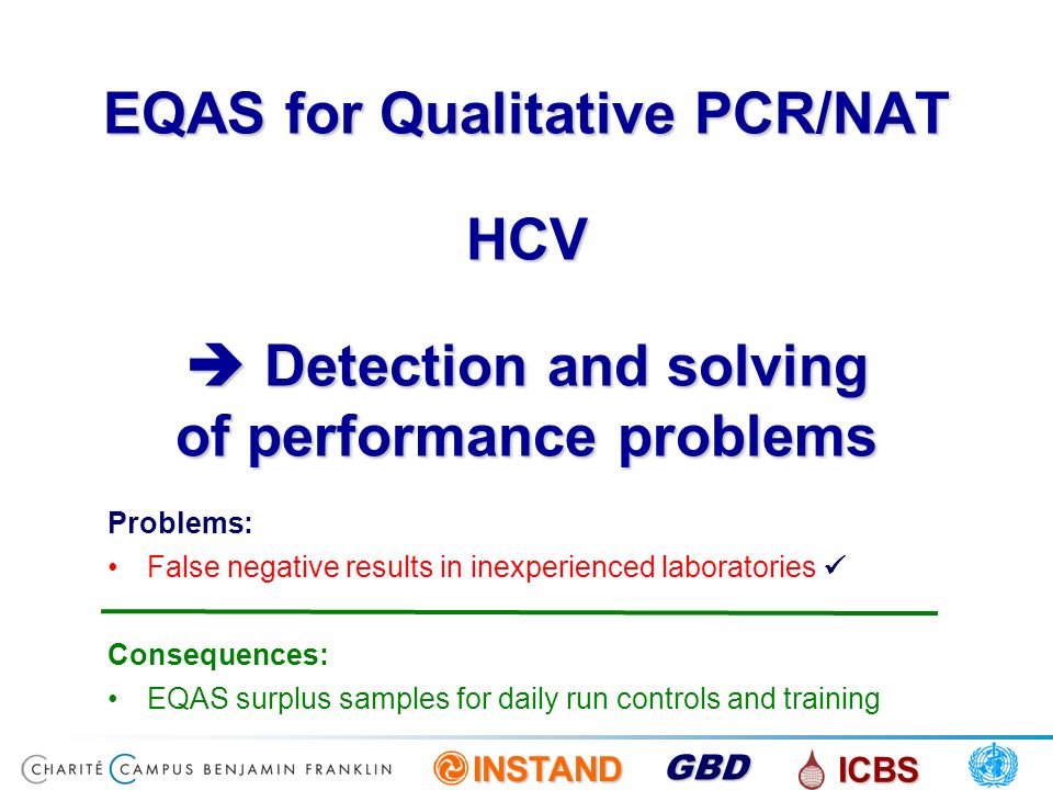 EQAS for Qualitative PCR/NAT HCV  Detection and solving of performance problems