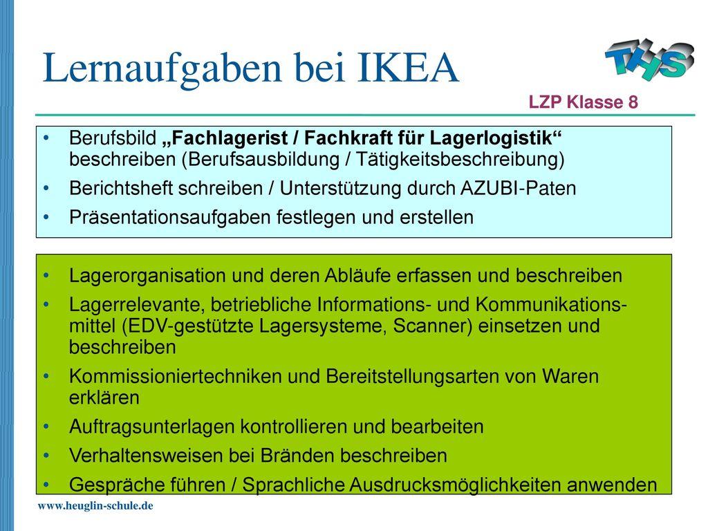 Lernaufgaben Bei IKEA LZP Klasse 8. Berufsbild U201eFachlagerist / Fachkraft  Für Lagerlogistik Beschreiben (
