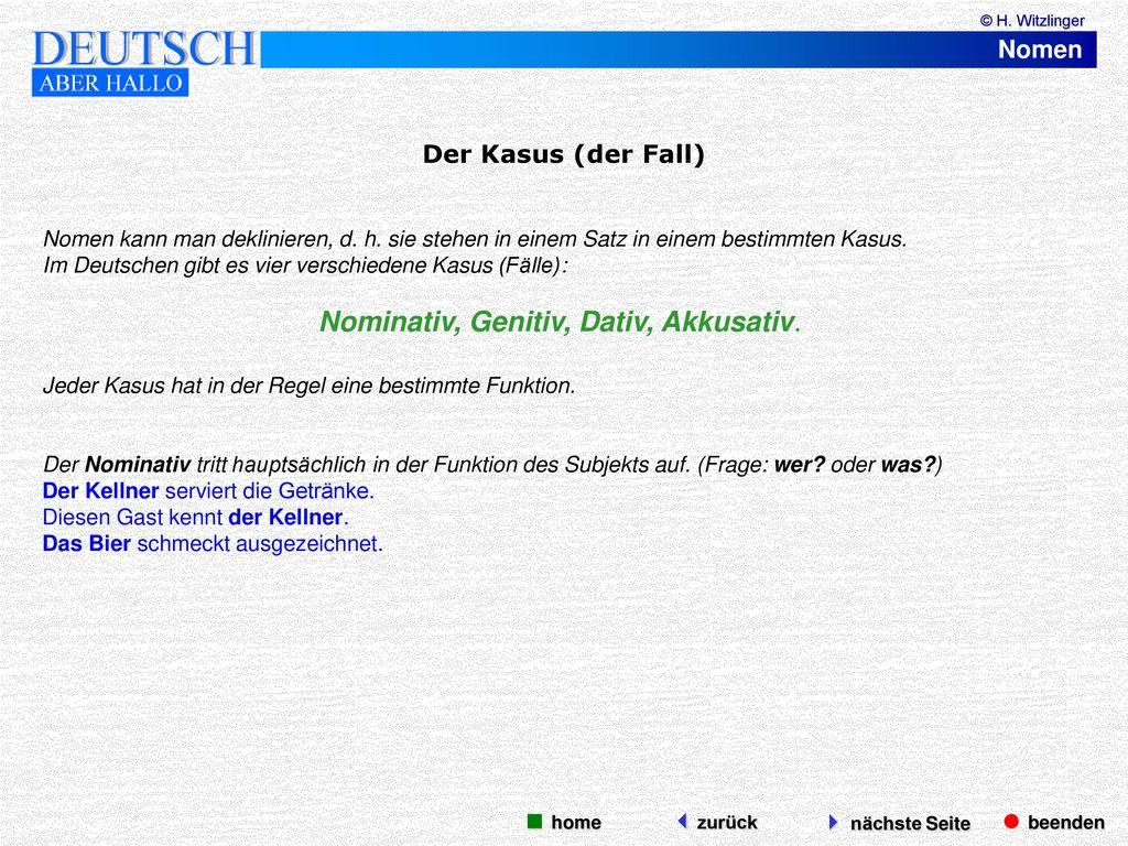 Nomen beenden n chste seite ppt video online herunterladen for Nominativ genitiv dativ akkusativ