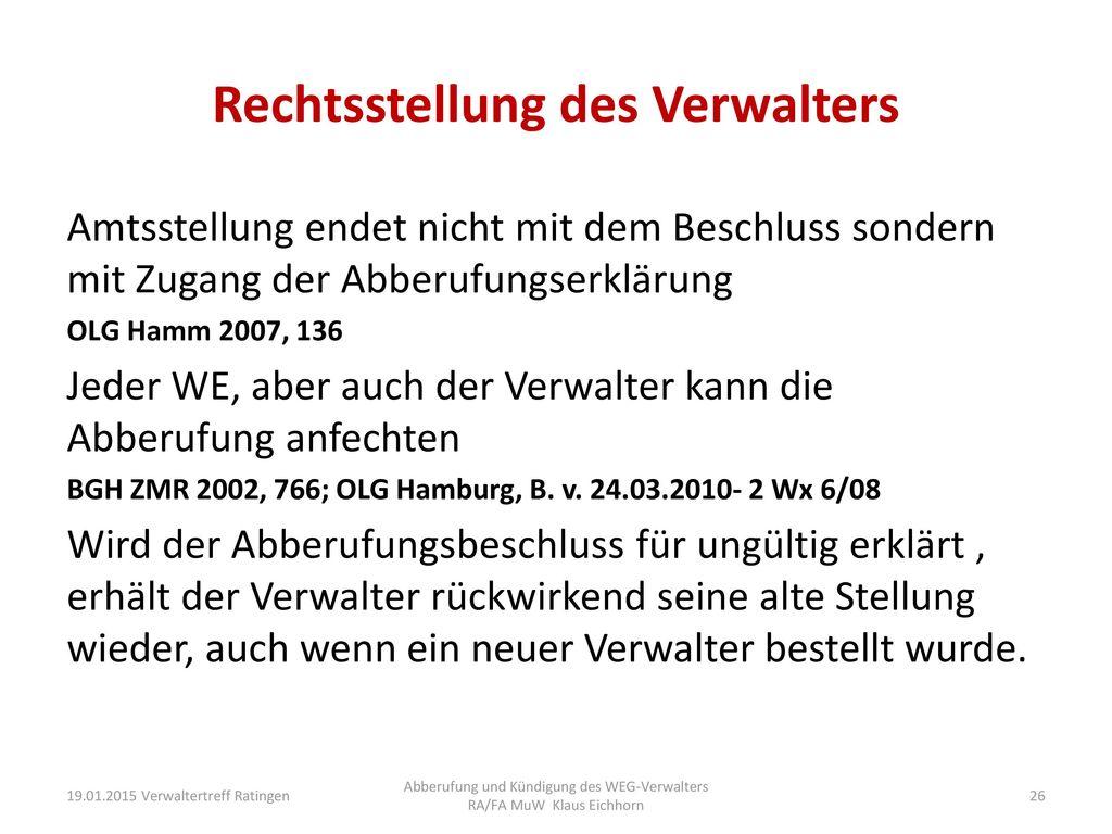 Abberufung und Kündigung des WEG-Verwalters - ppt herunterladen