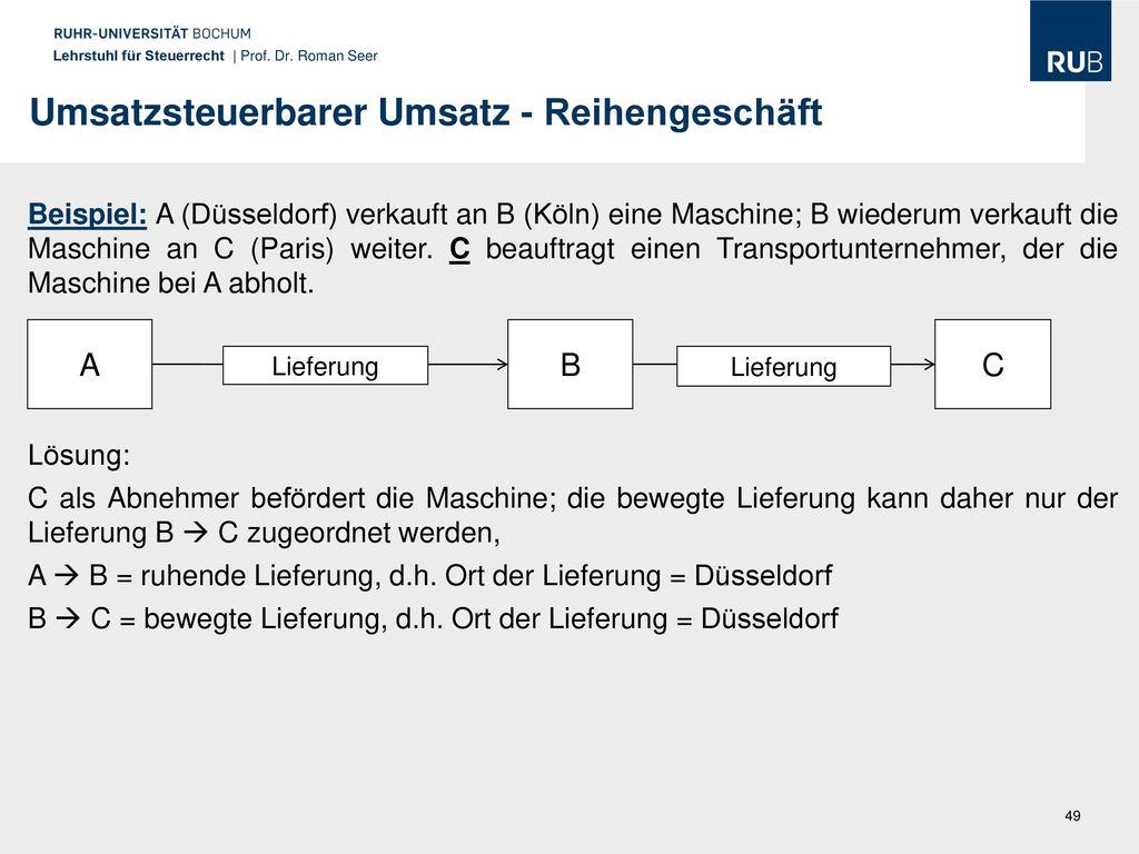 umsatzsteuerbarer umsatz reihengeschft - Reihengeschaft Beispiele