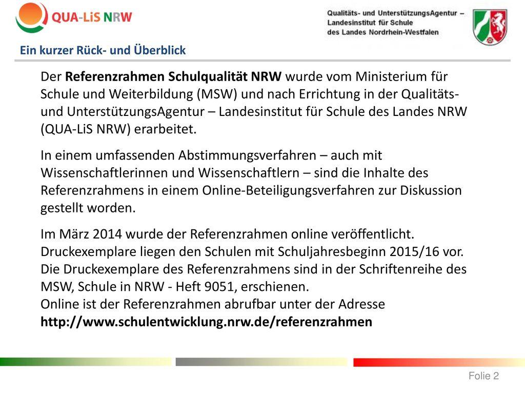 Der Referenzrahmen Schulqualität NRW als Instrument der ...