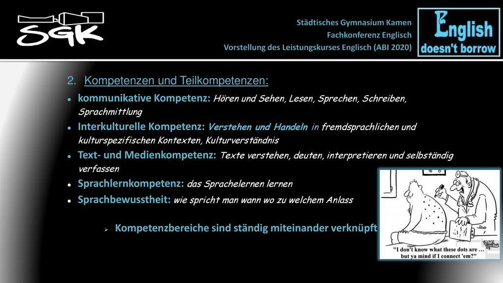 Städtisches Gymnasium Kamen Fachkonferenz Englisch Vorstellung Des
