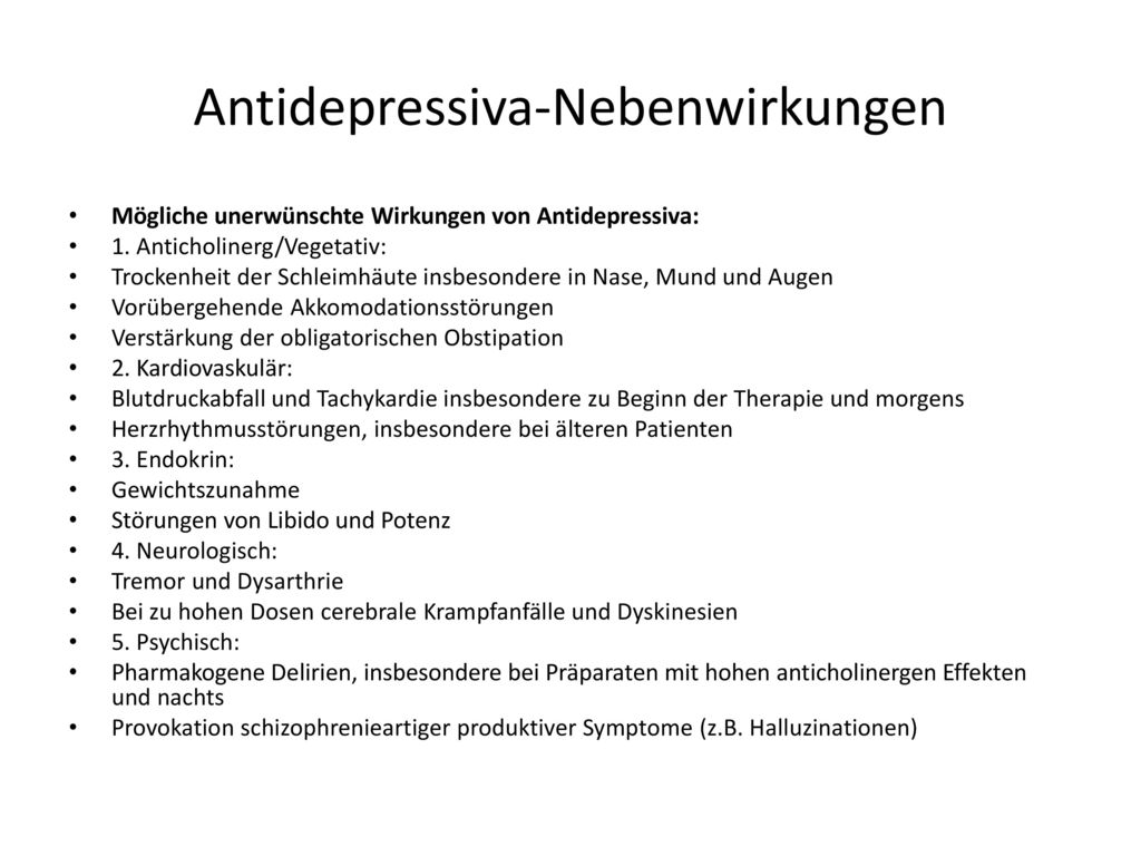 Nebenwirkungen sexualität antidepressiva Antidepressiva: Nebenwirkungsprofil