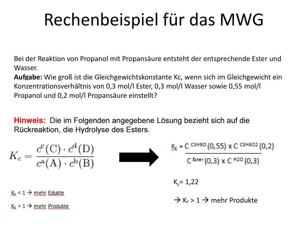 rechenbeispiel fr das mwg - Massenwirkungsgesetz Beispiel