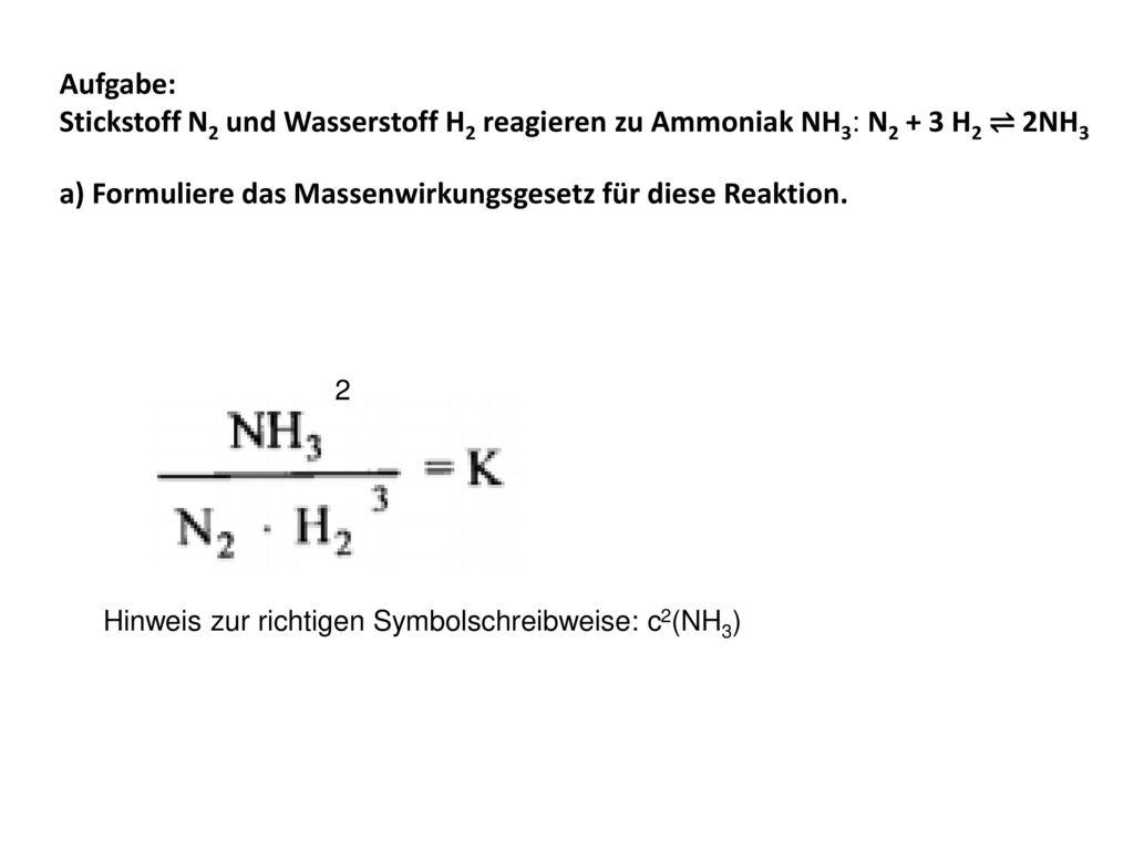 a formuliere das massenwirkungsgesetz fr diese reaktion - Massenwirkungsgesetz Beispiel