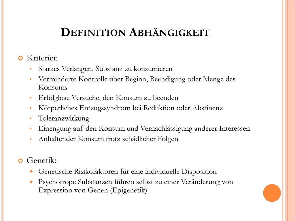 Abhängigkeit definition