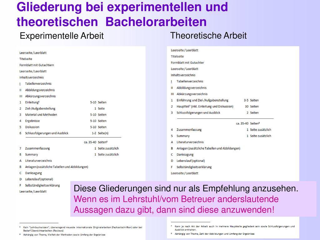 6 Gliederung bei experimentellen und theoretischen Bachelorarbeiten