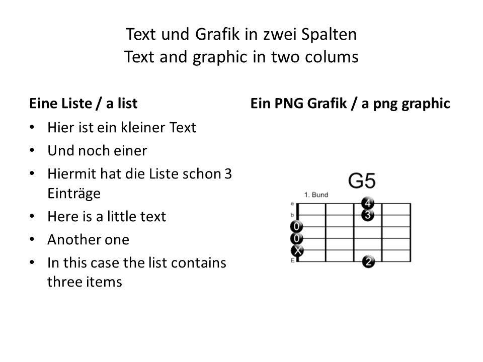 Text und Grafik in zwei Spalten Text and graphic in two colums