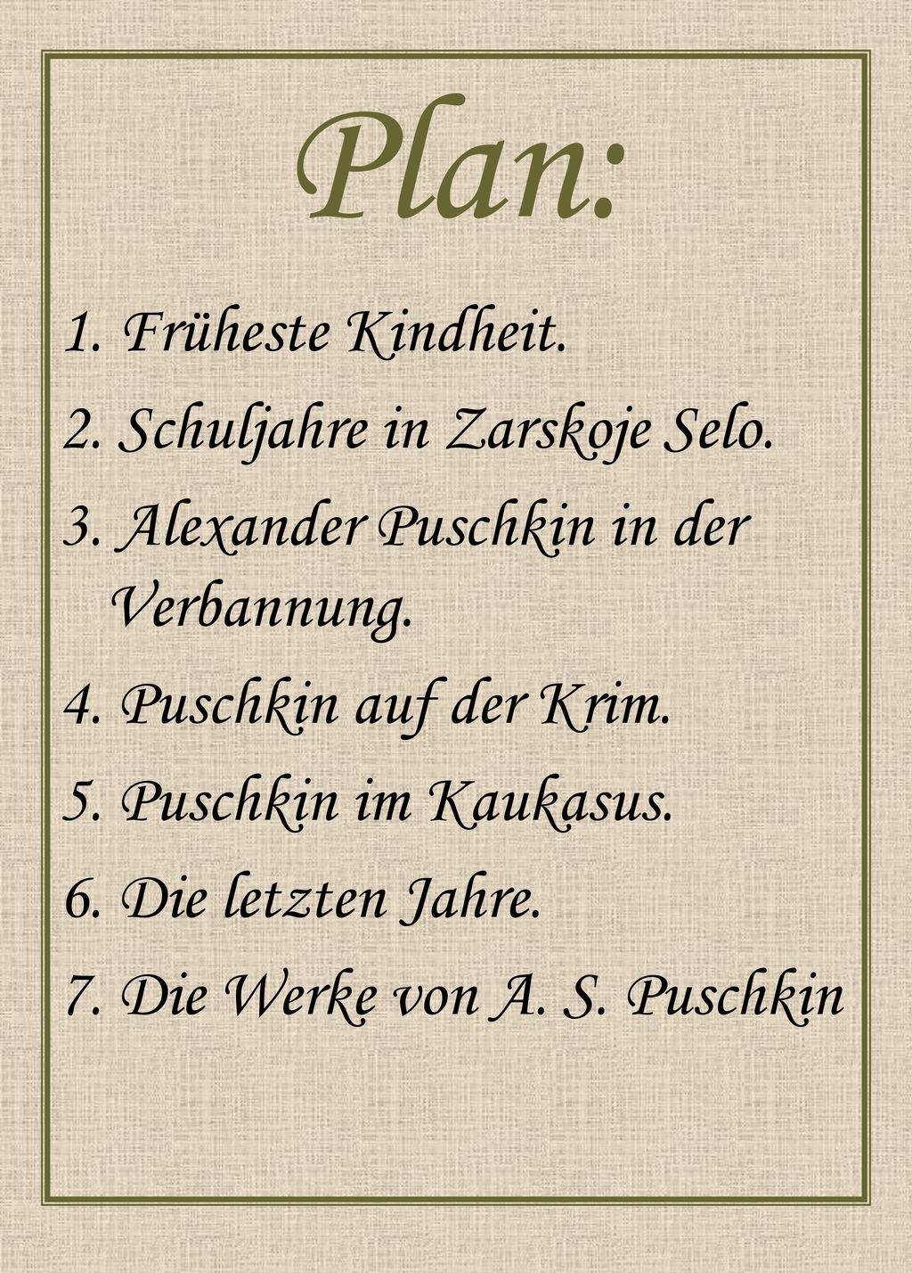 Der Große Russische Dichter As Puschkin Ppt Herunterladen