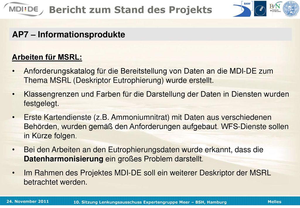 Stand der Arbeiten im Projekt Marine Dateninfrastruktur Deutschland ...