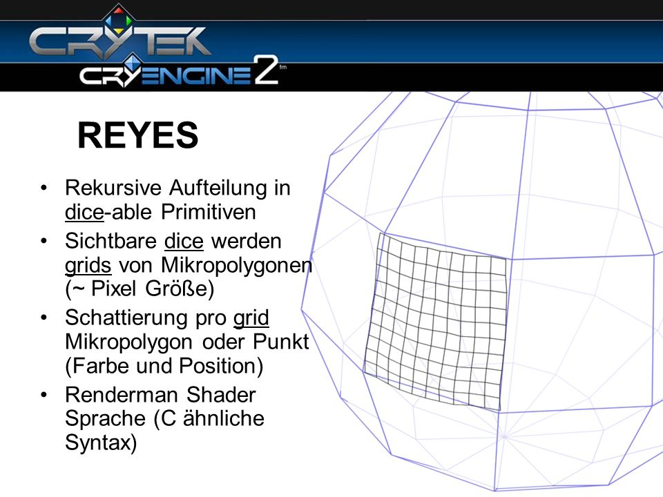 REYES Rekursive Aufteilung in dice-able Primitiven