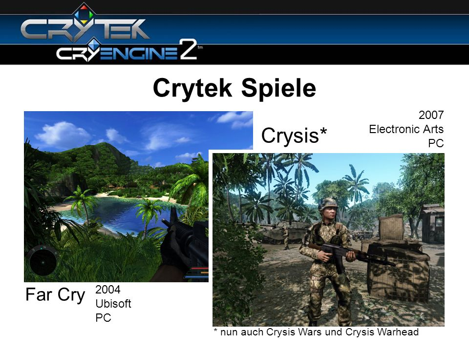 Crytek Spiele Crysis* Far Cry 2007 Electronic Arts PC 2004 Ubisoft PC