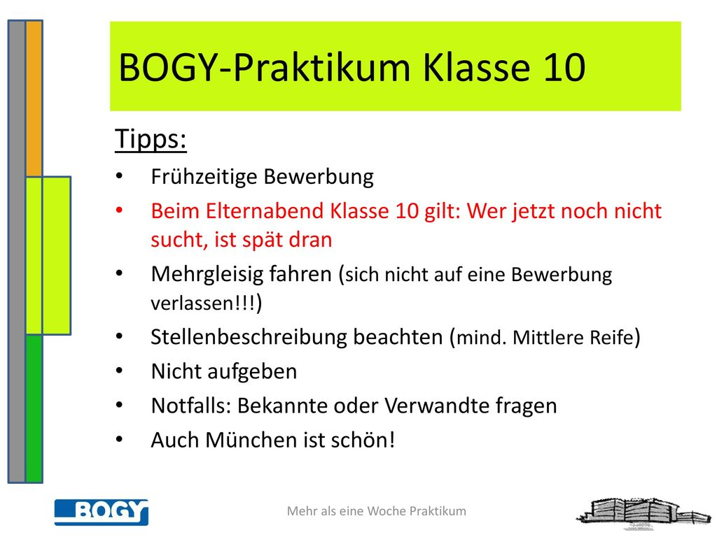 7 bogy praktikum klasse 10 - Bewerbung Bogy