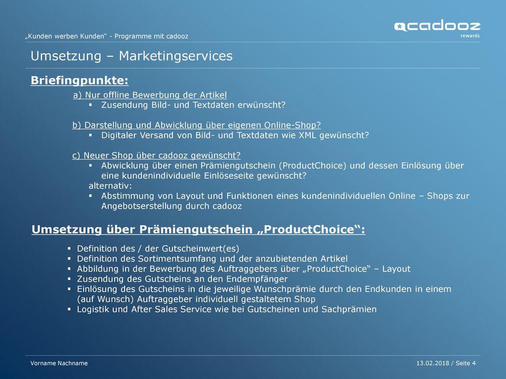 4 Umsetzung – Marketingservices