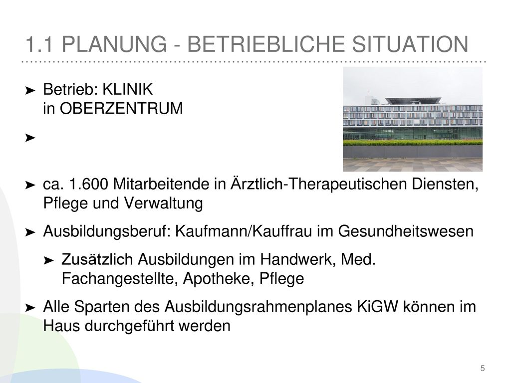 1.1 Planung - Betriebliche Situation