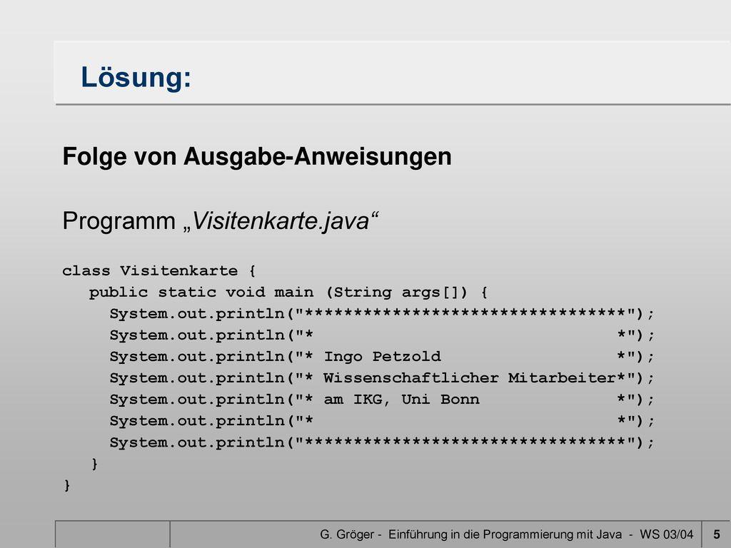 Einführung In Die Programmierung Mit Java Ppt Herunterladen