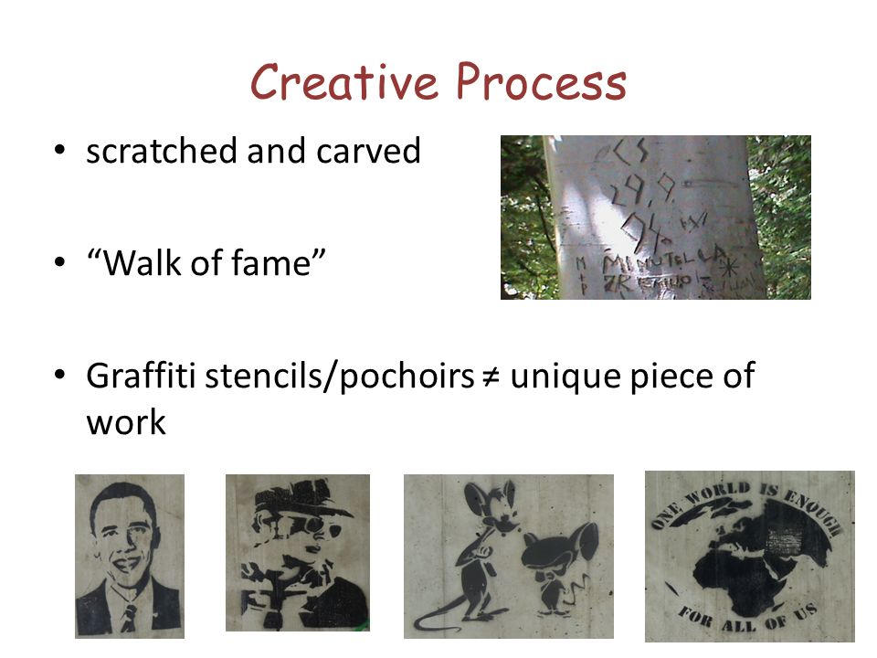 Creative Process scratched and carved Walk of fame