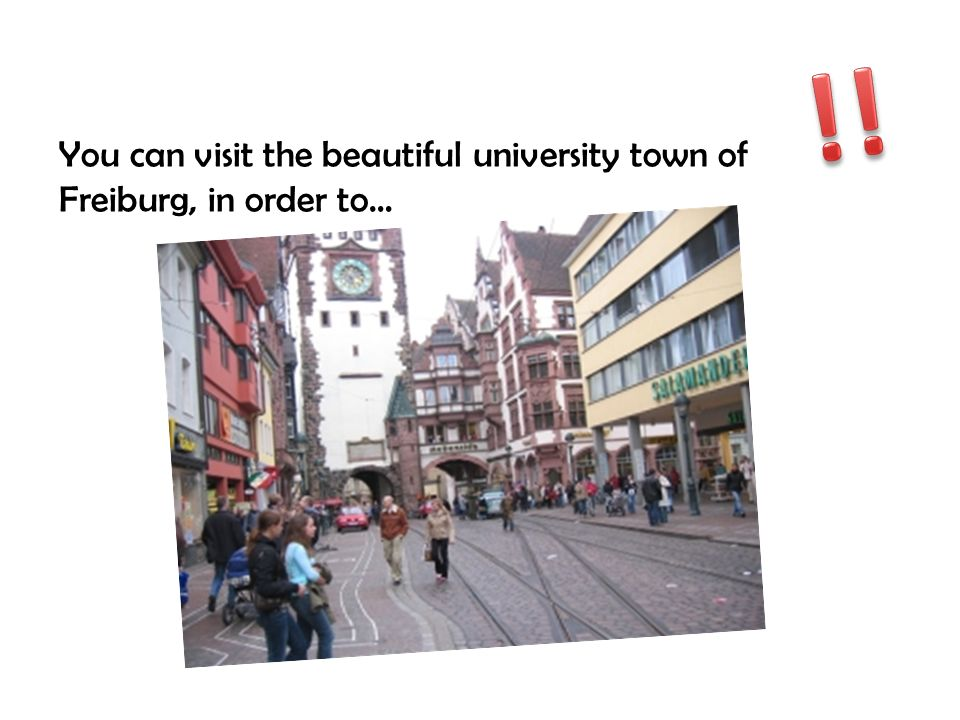 !! You can visit the beautiful university town of Freiburg, in order to…