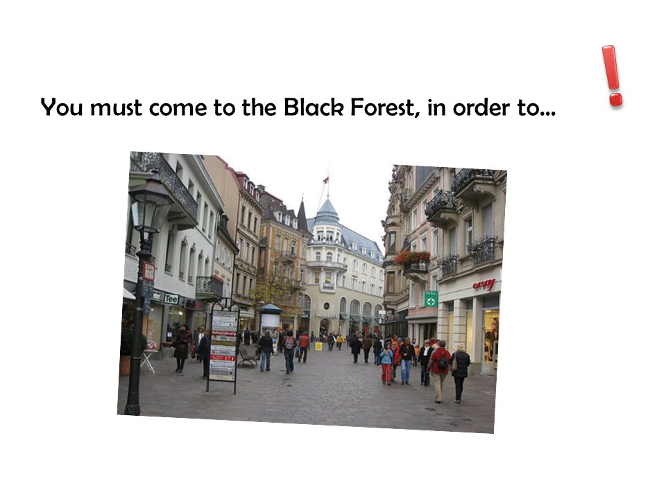 ! You must come to the Black Forest, in order to…