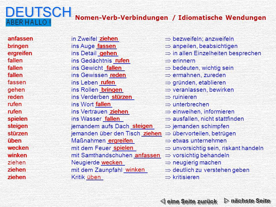 Deutsch Nomen Verb Verbindungen Idiomatische Wendungen