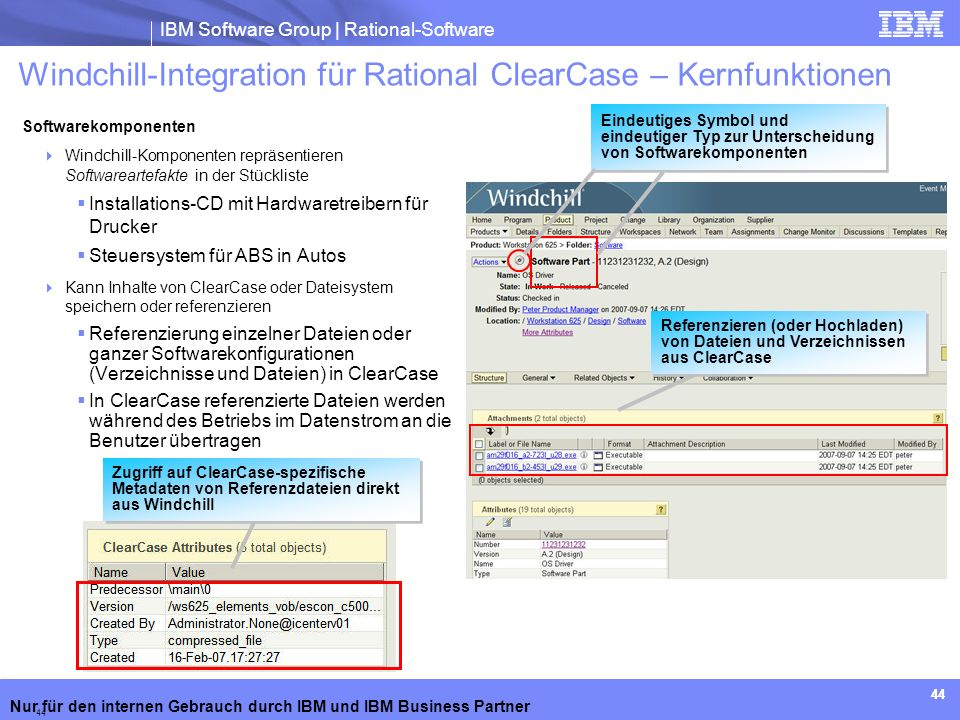 Windchill-Integration für Rational ClearCase – Kernfunktionen