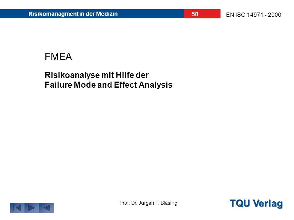 FMEA Risikoanalyse mit Hilfe der Failure Mode and Effect Analysis
