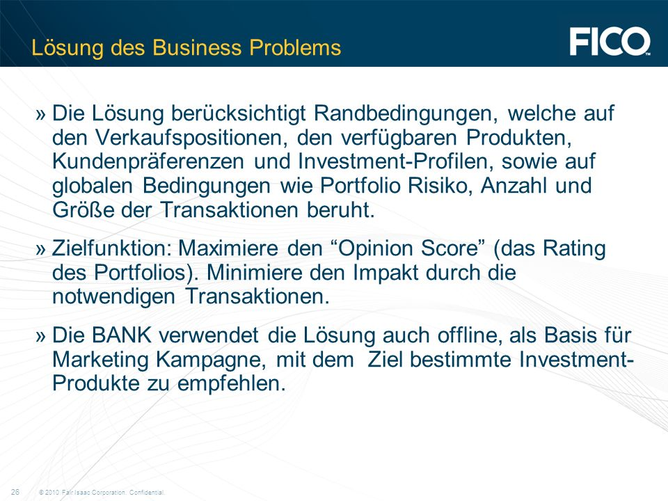 Lösung des Business Problems