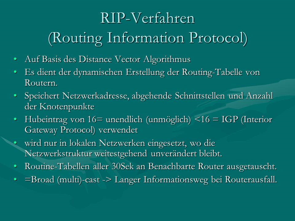 RIP-Verfahren (Routing Information Protocol)