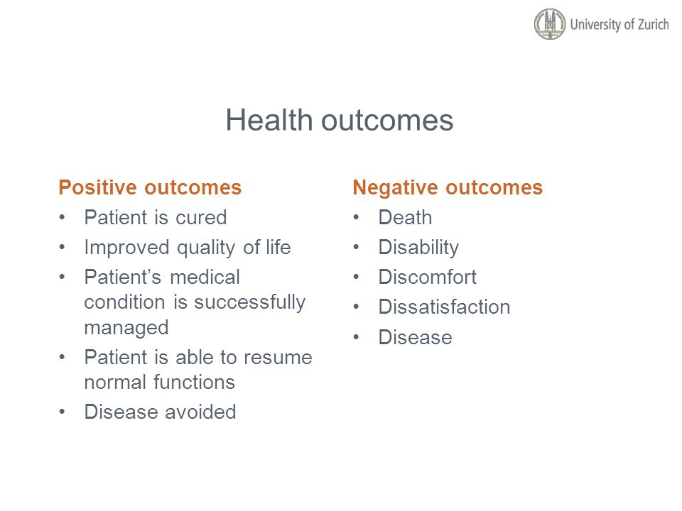 Health outcomes Positive outcomes Patient is cured