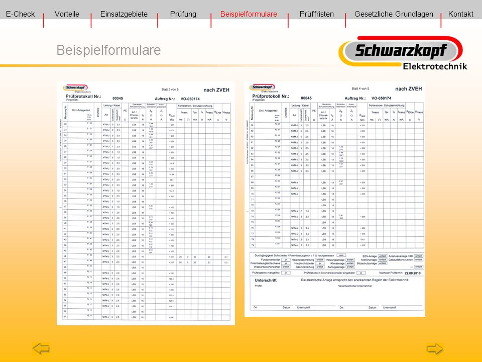beispielformulare e check vorteile einsatzgebiete prfung - Prufung Elektrischer Anlagen Prufprotokoll Muster