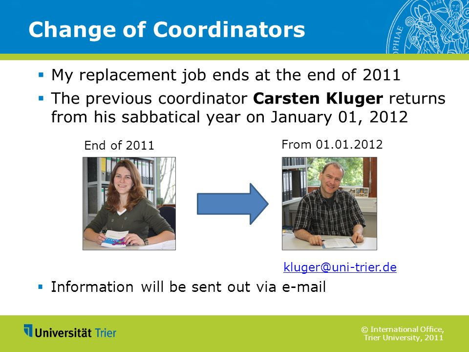 Change of Coordinators