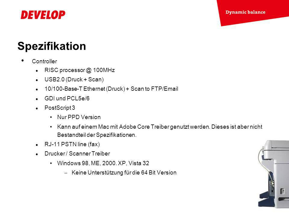 Spezifikation Controller RISC processor @ 100MHz USB2.0 (Druck + Scan)