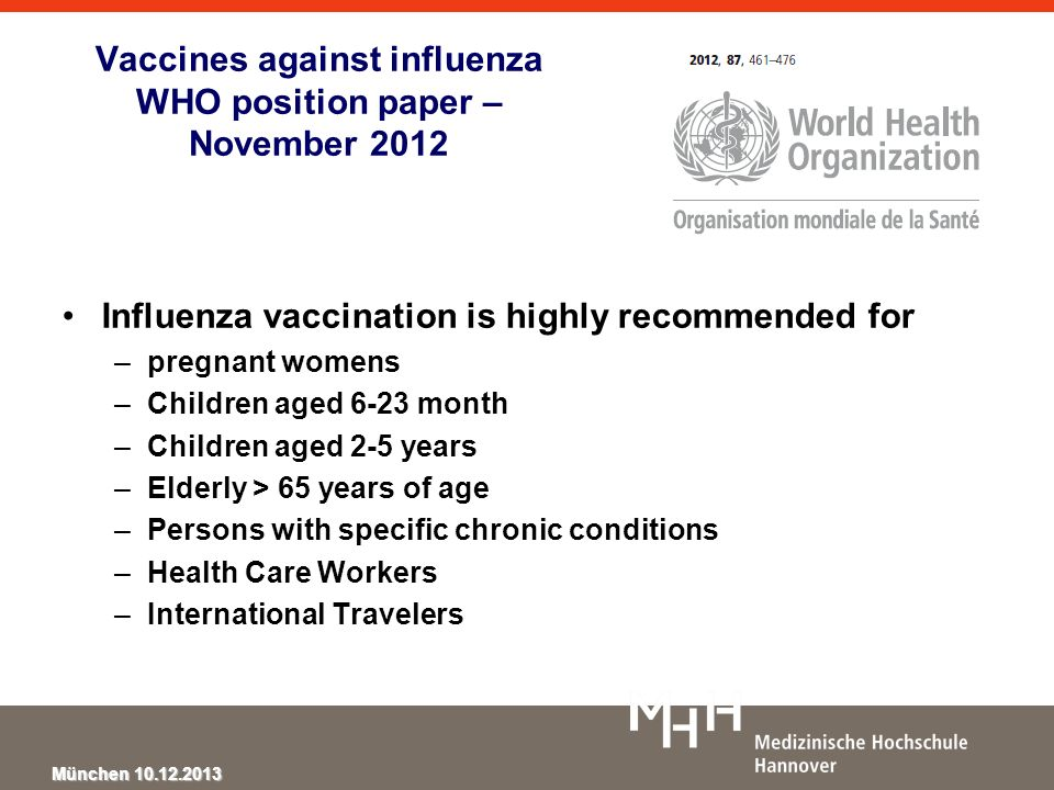 Vaccines against influenza WHO position paper – November 2012