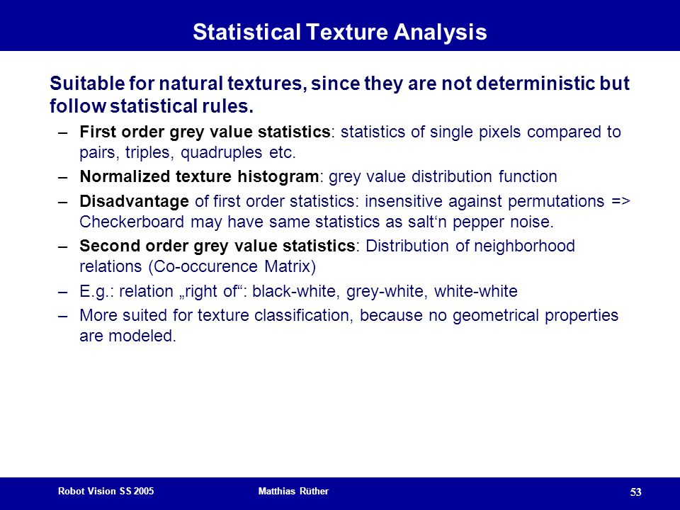 Statistical Texture Analysis