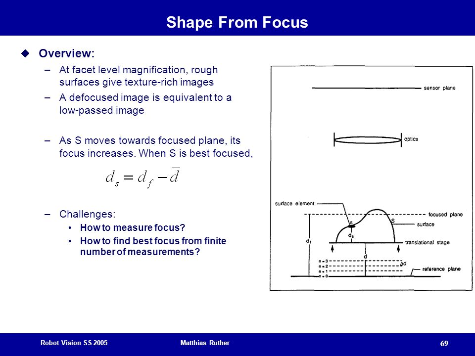 Shape From Focus Overview: