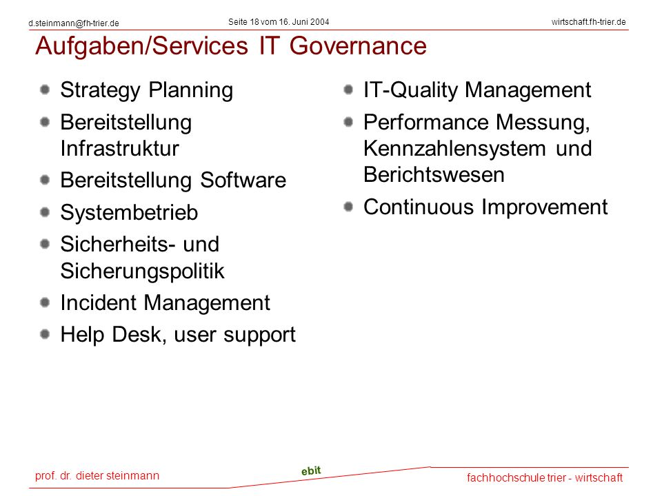 Aufgaben/Services IT Governance