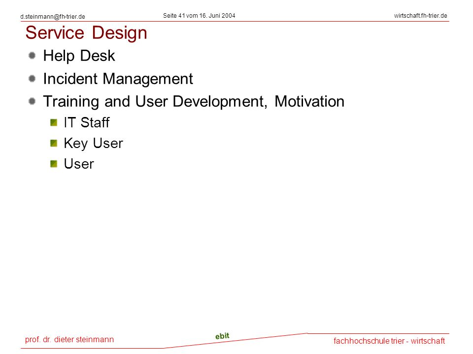 Service Design Help Desk Incident Management