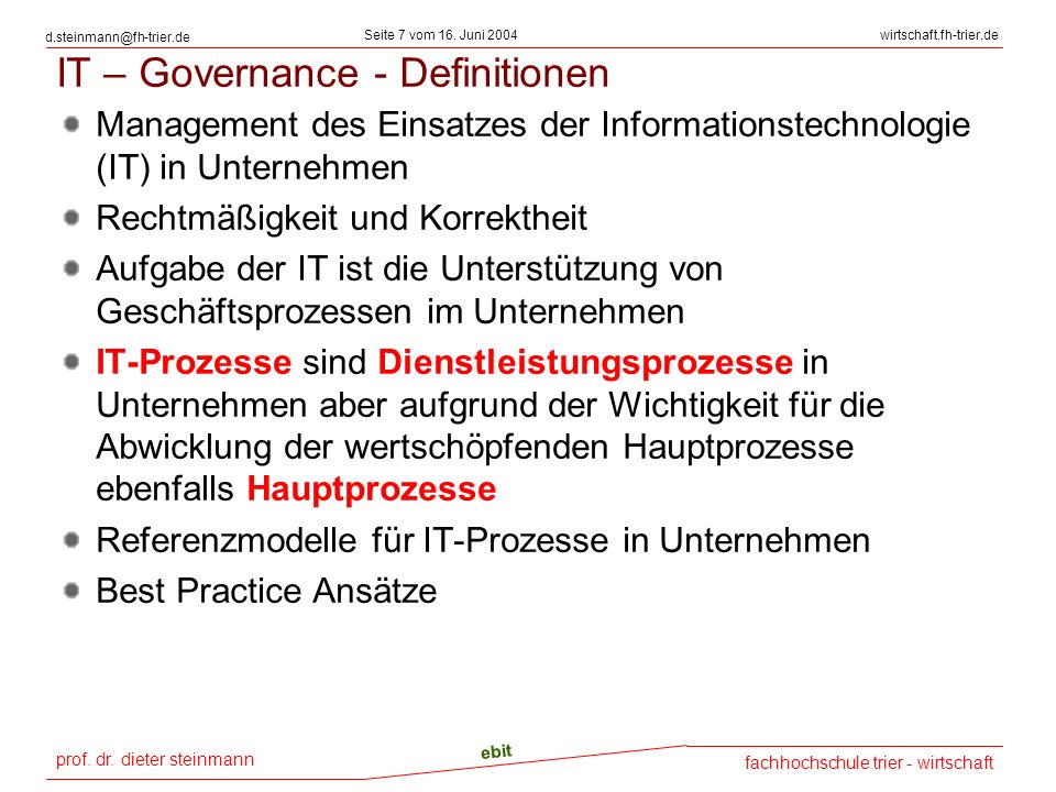 IT – Governance - Definitionen