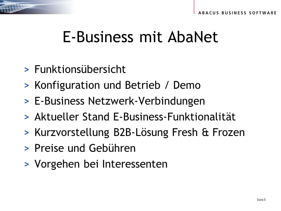 E-Business mit AbaNet Funktionsübersicht