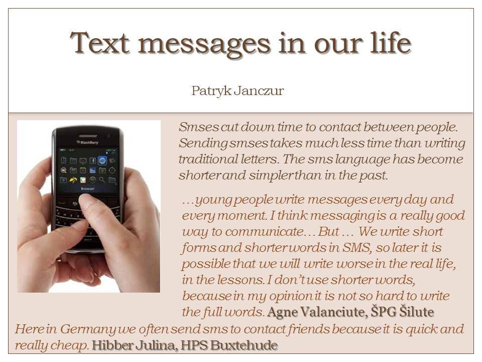 Text messages in our life o Patryk Janczur