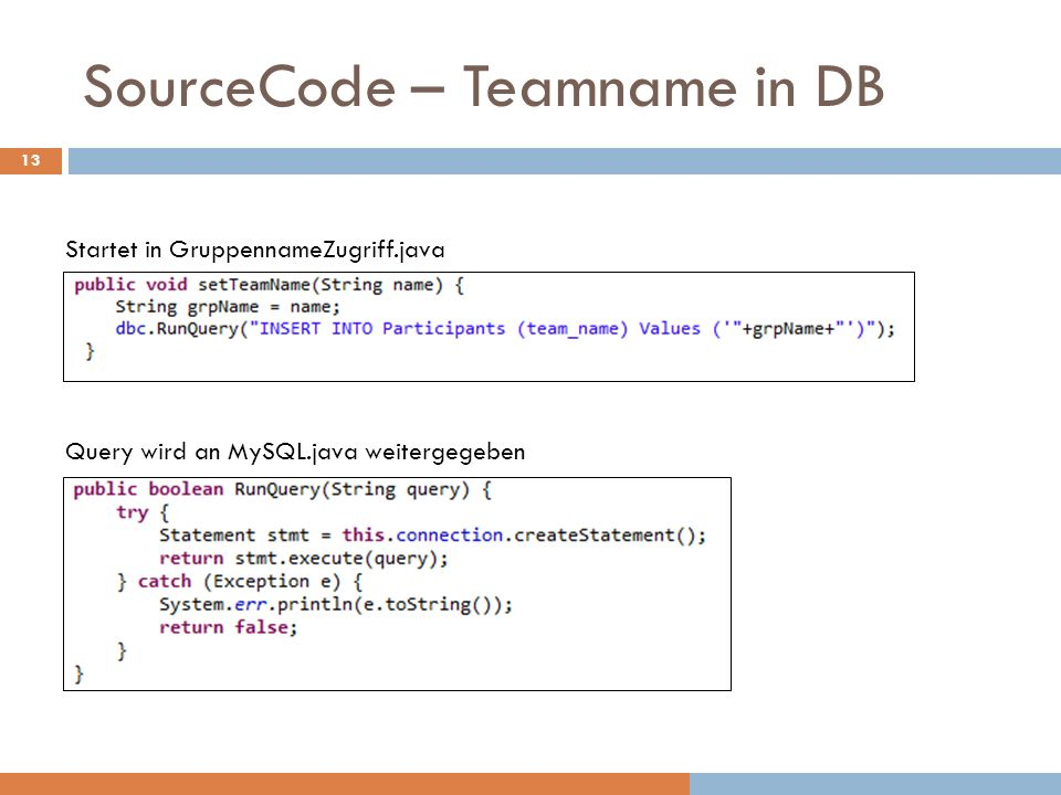 SourceCode – Teamname in DB