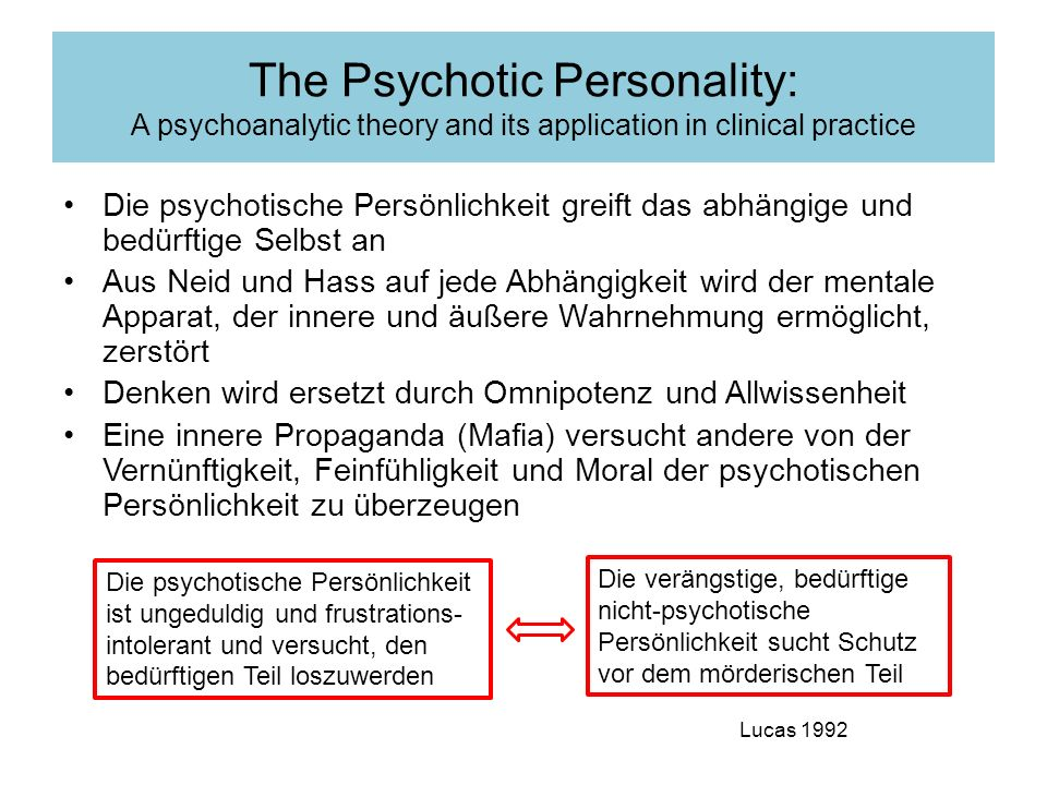 The Psychotic Personality: A psychoanalytic theory and its application in clinical practice
