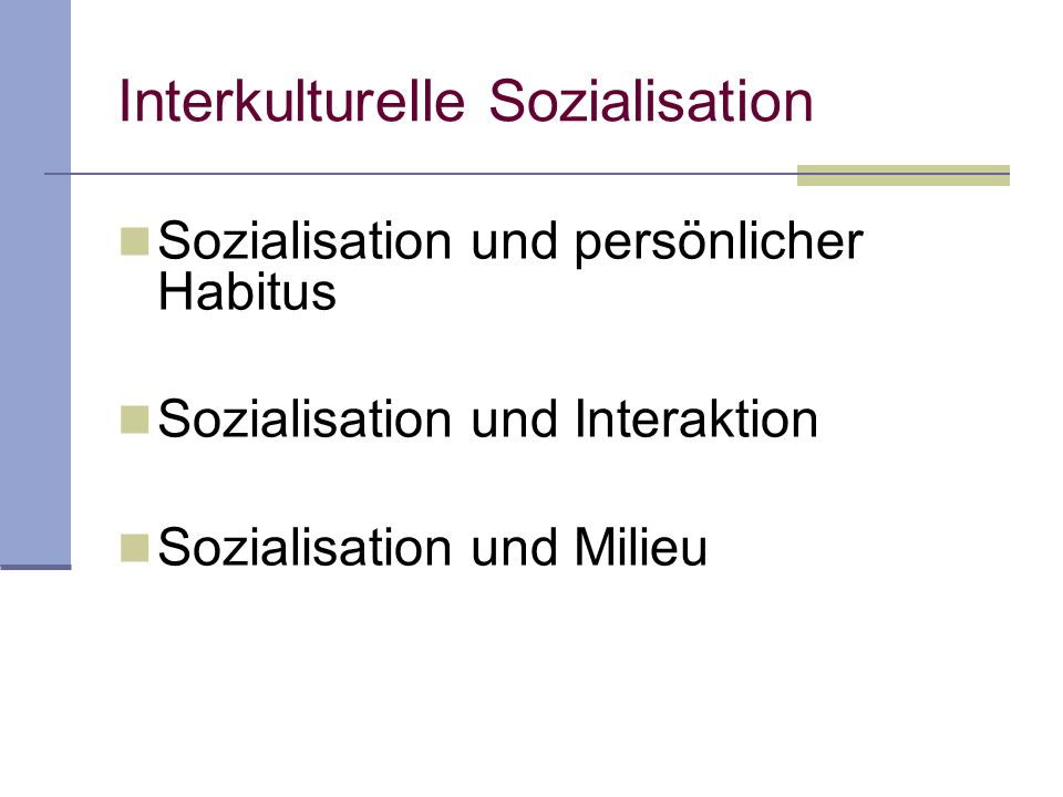 Interkulturelle Sozialisation