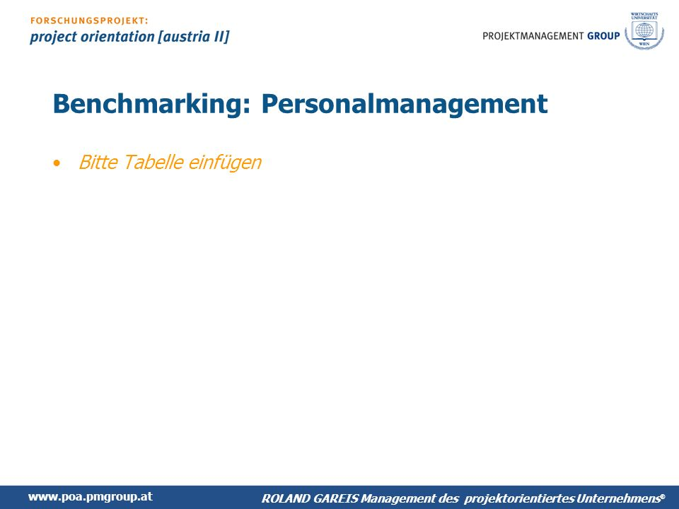 Benchmarking: Personalmanagement