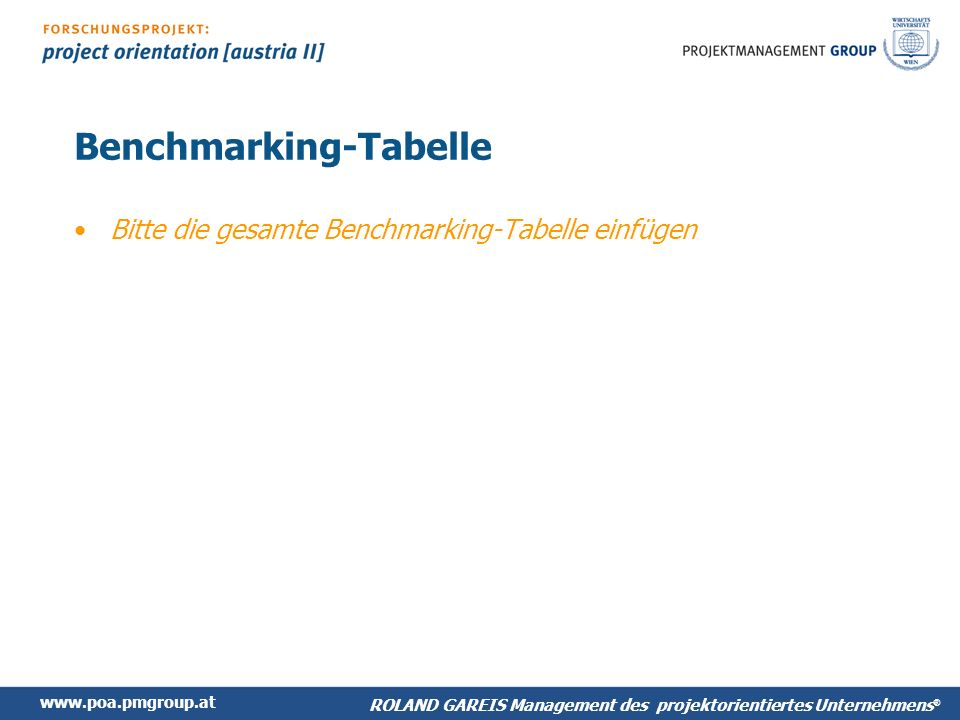 Benchmarking-Tabelle