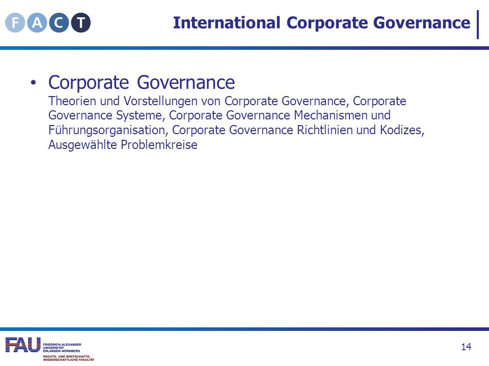 International Corporate Governance