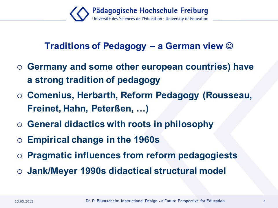 Traditions of Pedagogy – a German view 