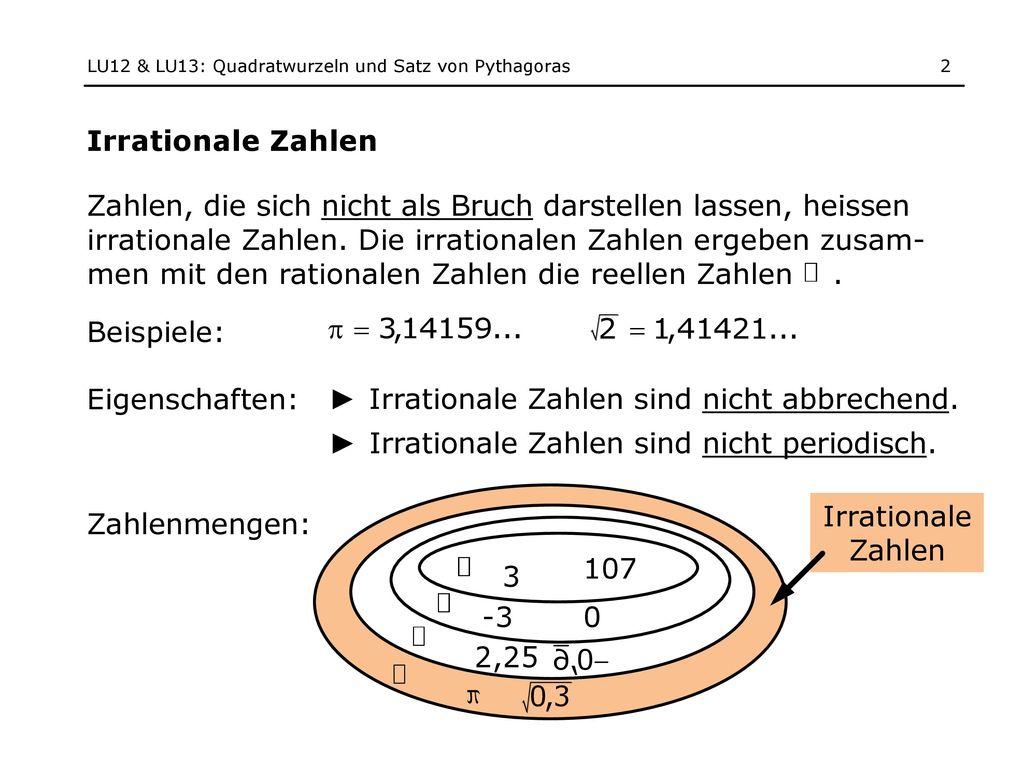 2 lu12 - Irrationale Zahlen Beispiele