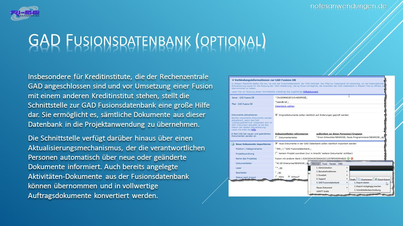 GAD Fusionsdatenbank (optional)